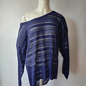 Sweaters - Off the Shoulder Sheer Navy Lightweight Sweater
